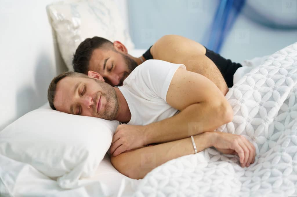Happy Gay Couple Sleeping After Sex